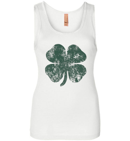 Distressed Shamrock St Patricks Day Tank Top for Women and Teen Girls