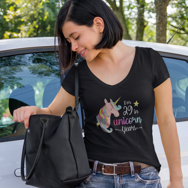 I'm 29 in Unicorn Years V-Neck T-Shirt for Women