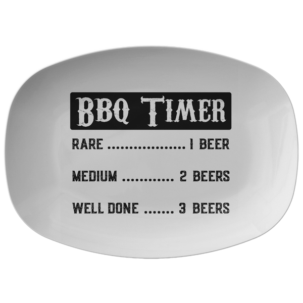 Funny BBQ Timer Grilling Platter Gift for Men Dad Grandpa | Barbecue Serving Tray Birthday Fathers Day Gift for
