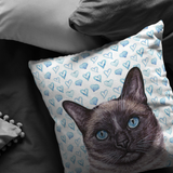 Siamese Cat Throw Pillow with Blue Hearts | Gift for Cat Lover Mothers Day Idea for Cat Mom Grandma | Siamese Cat Decor