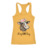 Hay Girl Hay Cow Tank Top | Funny Racerback Tanks for Women | Country Girl Cow Lover Gift Boho Floral Cow Birthday Present Mothers Day Ideas