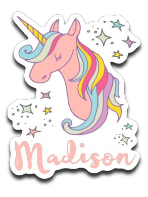 Madison Personalized Unicorn Name Vinyl Decal Sticker