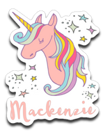 Mackenzie Personalized Unicorn Name Vinyl Decal Sticker