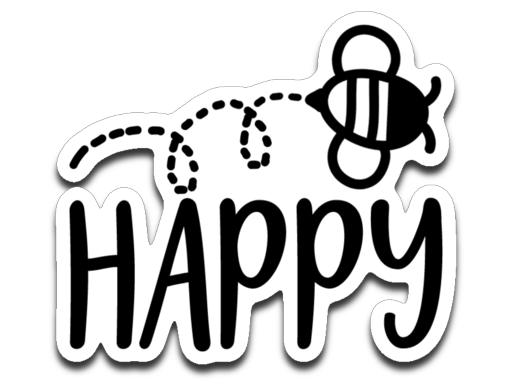 Bee Happy Vinyl Decal Sticker
