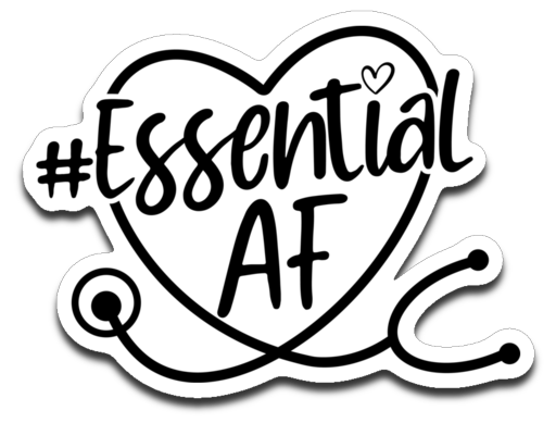 Essential AF Stethoscope Heart Vinyl Decal Sticker