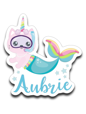 Aubrie Cat Mermaid Vinyl Decal Sticker