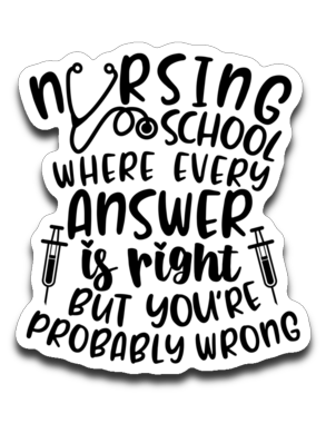 Nursing School Where Every Answer Is Right But You're Probably Wrong Vinyl Decal Sticker