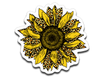Leopard Print Sunflower Vinyl Decal Sticker