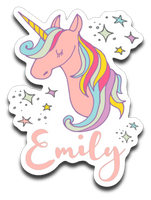 Rainbow Unicorn Decal with Name Emily for Girls