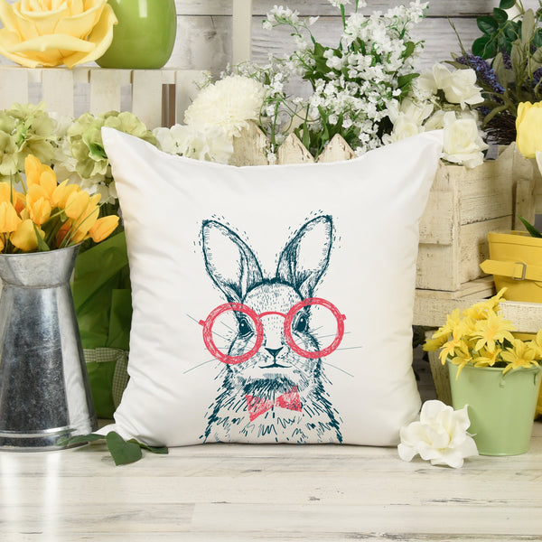 Easter Bunny with Red Glasses and Bow Tie Throw Pillow or Zip Pillow Cover | Spring Farmhouse Decor