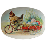 Easter Platter with Vintage Chicken and Eggs Design