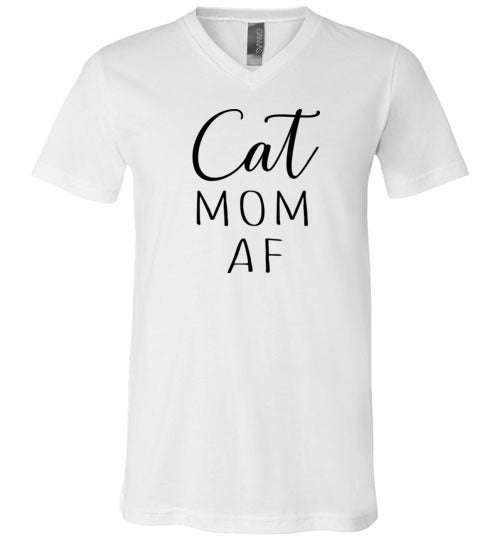 Cat Mom Af Funny V-Neck Cat Lover Shirt for Women