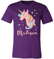 Madison Rainbow Unicorn Personalized Name Shirt