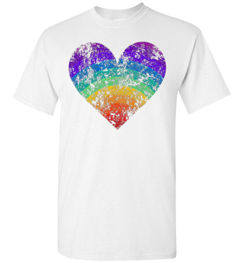 Rainbow Heart Gay Pride LGBTQ Distressed Vintage Style T-Shirt