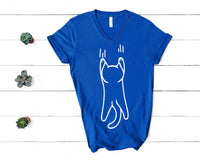 Cat Hanging from Shirt V-Neck Design for Men and Women