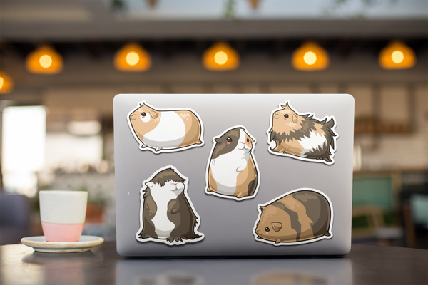 Guinea Pig Decal Pack | 5 Vinyl Decals | Cute Cavy Animal Sticker Set for Laptop, Notebook, Mug, Wall, Tumbler, Cell Phone and More