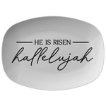 He Is Risen Hallelujah Easter Serving Platter | Religious Appetizer Tray Farmhouse Rustic Country Minimalist Decor