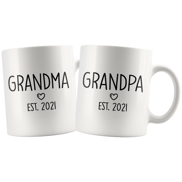Grandpa and Grandpa Est 2021 Matching Mug Set | New Grandma Grandpa Gift | Pregnancy Announcement