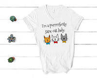 Purrrrfectly Sane Cat Lady V-Neck Shirt for Women
