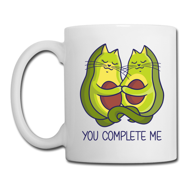 You Complete Me Avocado Cats Coffee or Tea Mug - white
