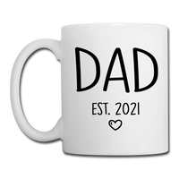Dad Est 2021 Coffee or Tea Mug Design with Heart - white