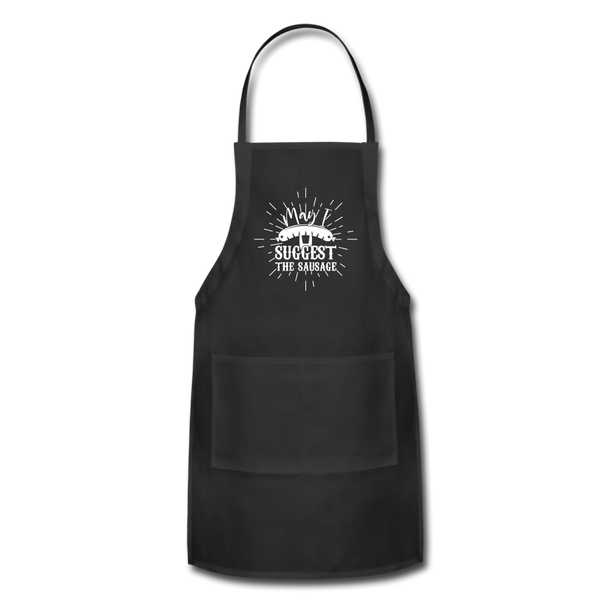 May I Suggest the Sausage Funny Adjustable BBQ Grilling Apron with Pockets for Men - black