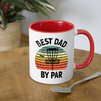 Best Dad By Par Disc Golf Contrast Coffee Mug - white/red