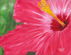"Canvas Giclée Print Hibiscus Flower Oil Painting 2004 (18.5"" X 24"")"