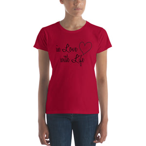 In love with life by in love with life, ladies red short sleeve, black writing