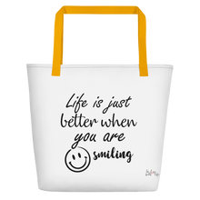 Life is just better when you are smiling by In love with life , bag yellow handle
