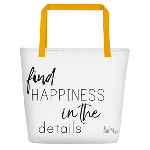 Find happiness in the details by in love with life, white bag, black writing, yellow handle