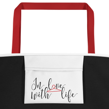 Enjoy your day, what else is there to do? by in love with life, bag, red handle, inside pocket