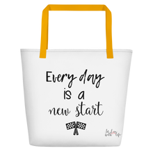 Every day is a new start by in love with life, white bag, black writing, yellow handle