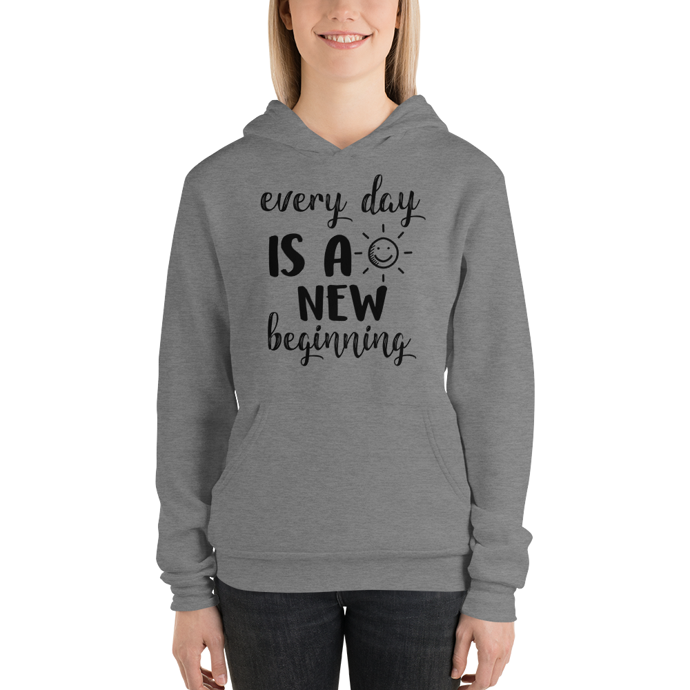 Every day is a new beginning by In love with life, ladies hoodie/ sweatshirt dark heather