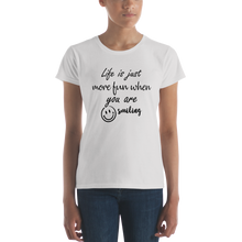 Life is just more fun when you are smiling by In love with life, short sleeve/ shirt ladies silver