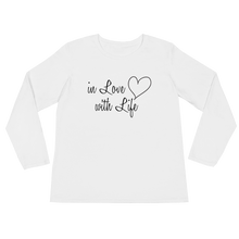 In love with life by in love with life, ladies white long sleeve, black writing, front