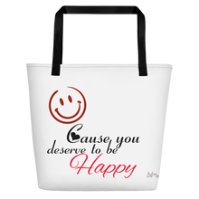 Smile cause you deserve to be happy by in love with life, white bag, black/red writing, black handle