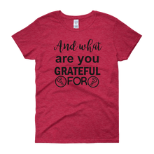 And what are you grateful for? by in love with life, red short sleeve ladies