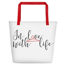 In love with life by in love with life, white bag, black/red writing, red handle
