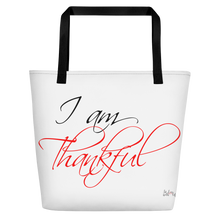I am thankful by in love with life, white bag, black/red writing, black handle