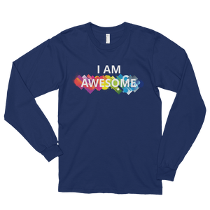 I am awesome by in love with life, navy blue long sleeve gentleman