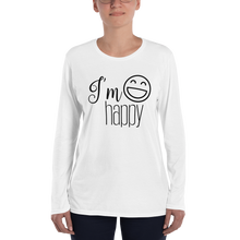 I'm happy by in love with life, ladies long sleeve front