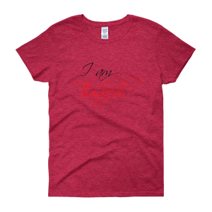 I am thankful by in love with life, cherry red short sleeve ladies