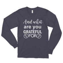 And what are you grateful for? by in love with life, asphalt white writing long sleeve gentleman