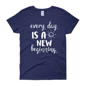 Every day is a new beginning by in love with life, cobalt blue short sleeve ladies