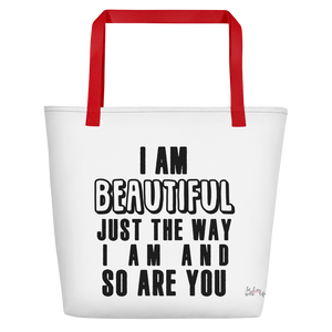 I am beautiful just the way I am & so are YOU by in love with life, white bag, black writing, red handle