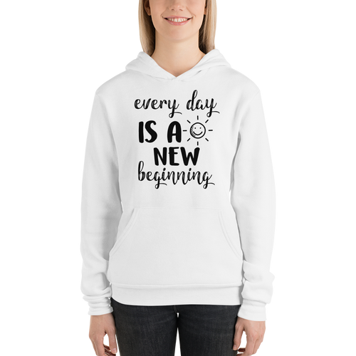 Every day is a new beginning by In love with life, ladies hoodie/ sweatshirt white