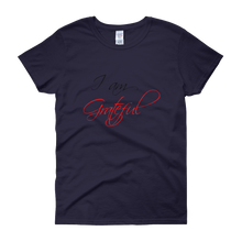 I am grateful by in love with life, navy blue short sleeve ladies
