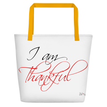 I am thankful by in love with life, white bag, black/red writing, yellow handle