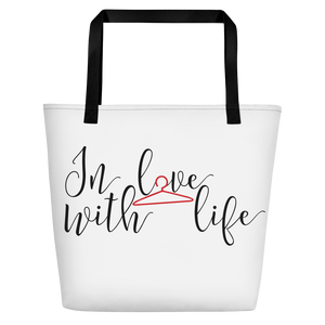 In love with life by in love with life, white bag, black/red writing, black handle